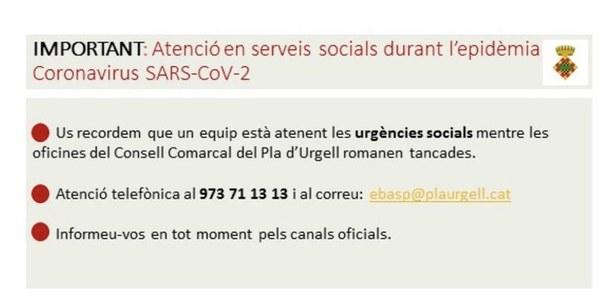 ATENCIÓ EN SERVEIS SOCIALS DURANT L'EPIDÈMIA DE CORONAVIRUS