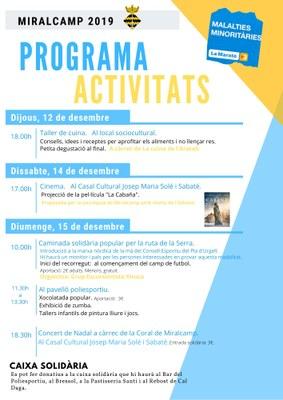 PROGRAMA D'ACTIVITATS PER LA MARATÓ 2019