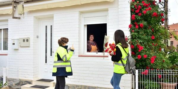 Un Sant Jordi amb roses i mascaretes per a totes les cases de Miralcamp